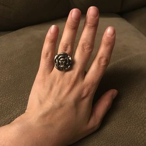 Sterling silver open rose ring